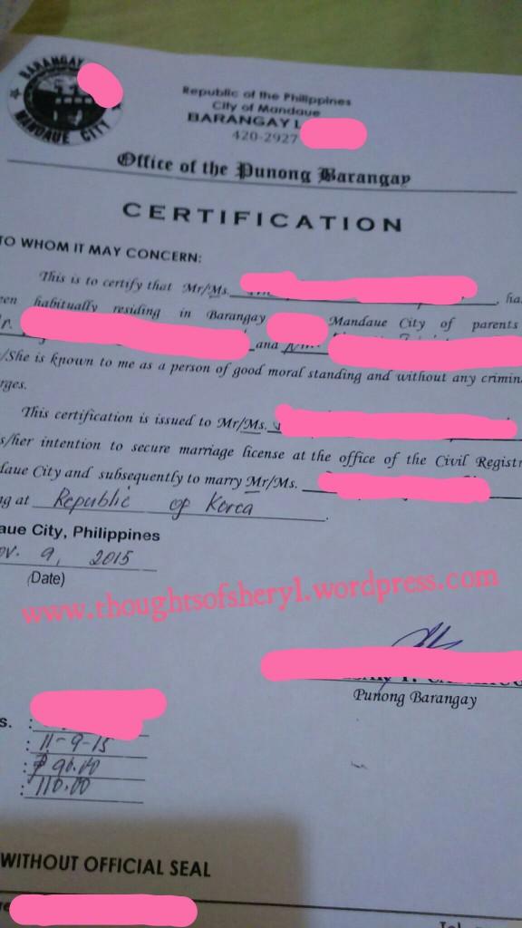 barangay certificate philippines