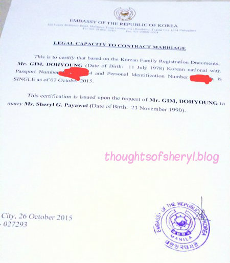 lagal capacity to contract marriage korean embassy