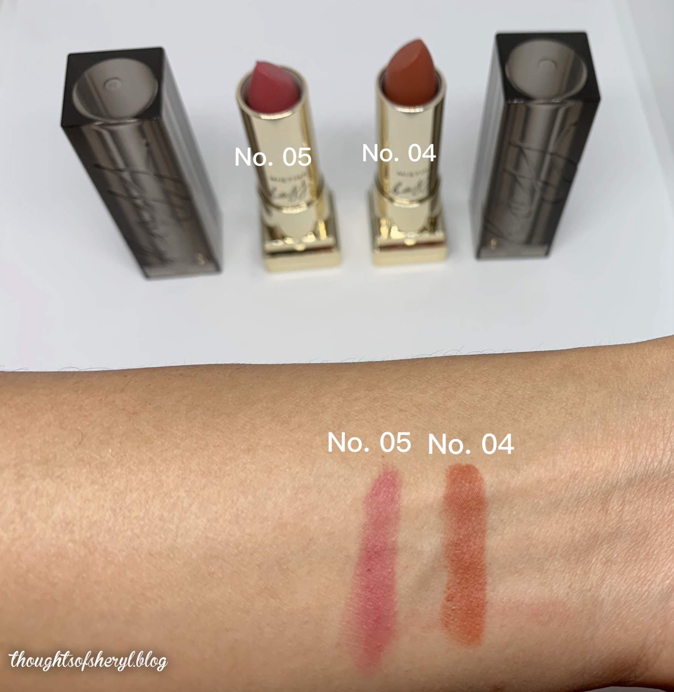 mistine boss semi matte lipstick no. 05 and no. 04 swatches
