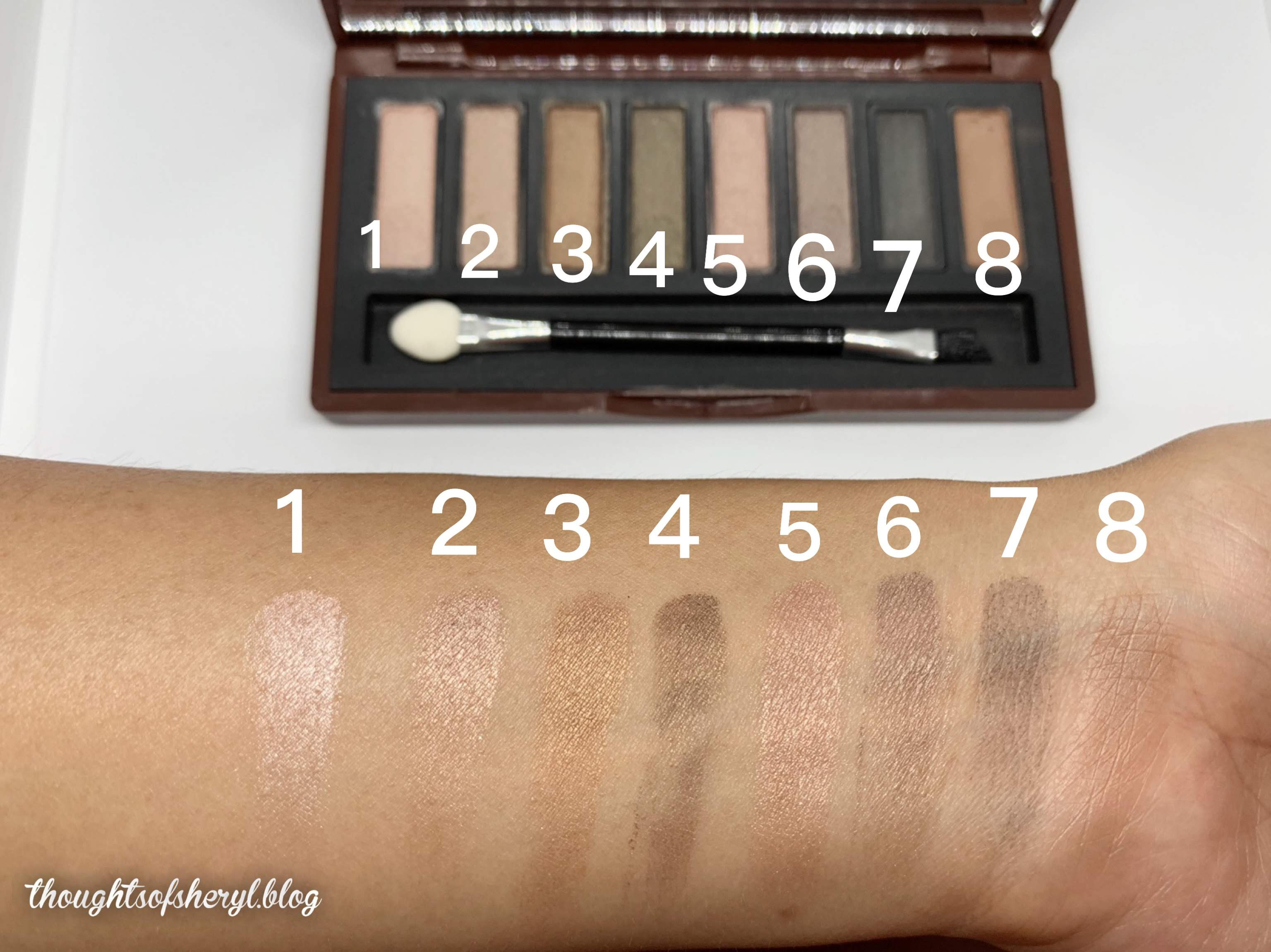 mistine nudy brown complete eye palette swatches