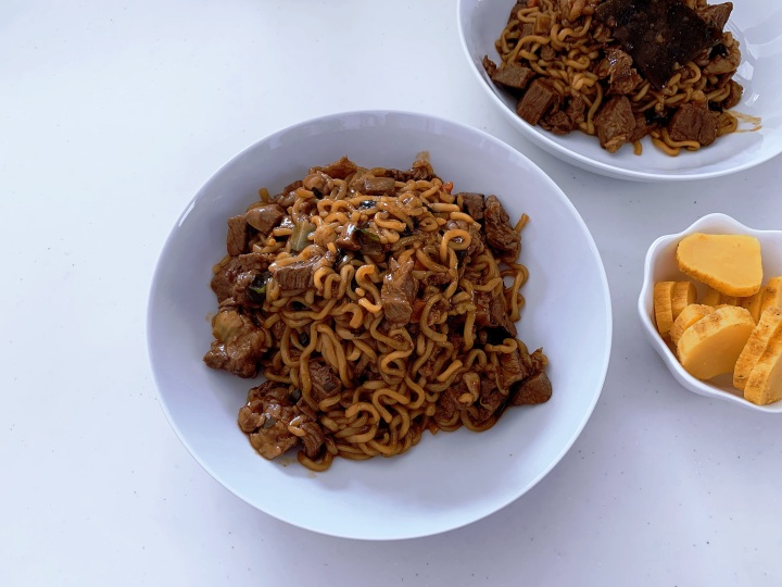 I tried Maangchi's Jjapaguri with SteakRecipe!